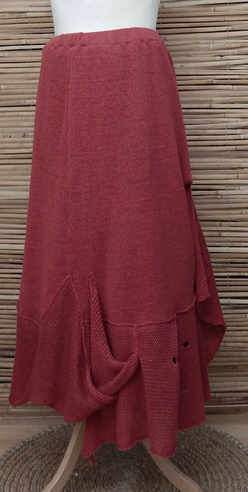 ZUZA BARTDESIGN OVERSIZED AMAZING HAND MADE LINEN BEAUTIFUL SKIRTREDXXL-XXXL