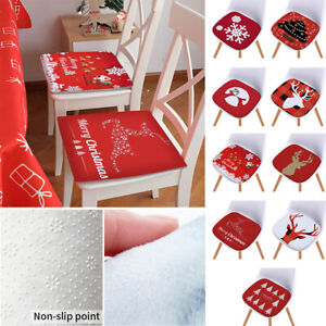 Details about Christmas Seat Pads Kitchen Non-slip Dining Room Patio Chair  Cushions 40x40cm