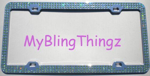 Embedded PERIDOT Green Rhinestone License Plate Frame made w// Swarovski Crystals