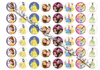 48 Disney Princess Cake Toppers 30mm Printed on premium rice paper