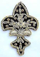 4 Hand-Embroidered Appliques. Fleur De Lis. Black with Gold Bullion