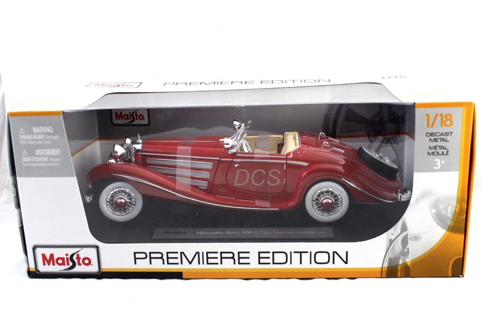 MAISTO 1936 MERCEDES BENZ 500K RED  1 18 18 18 DIECAST CAR  36862RD ece84d