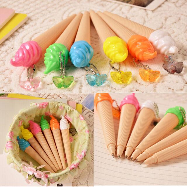 1 Pcs Cartoon Ballpoint Pens Kawaii Stationery Pen Writing Ice Cream LL