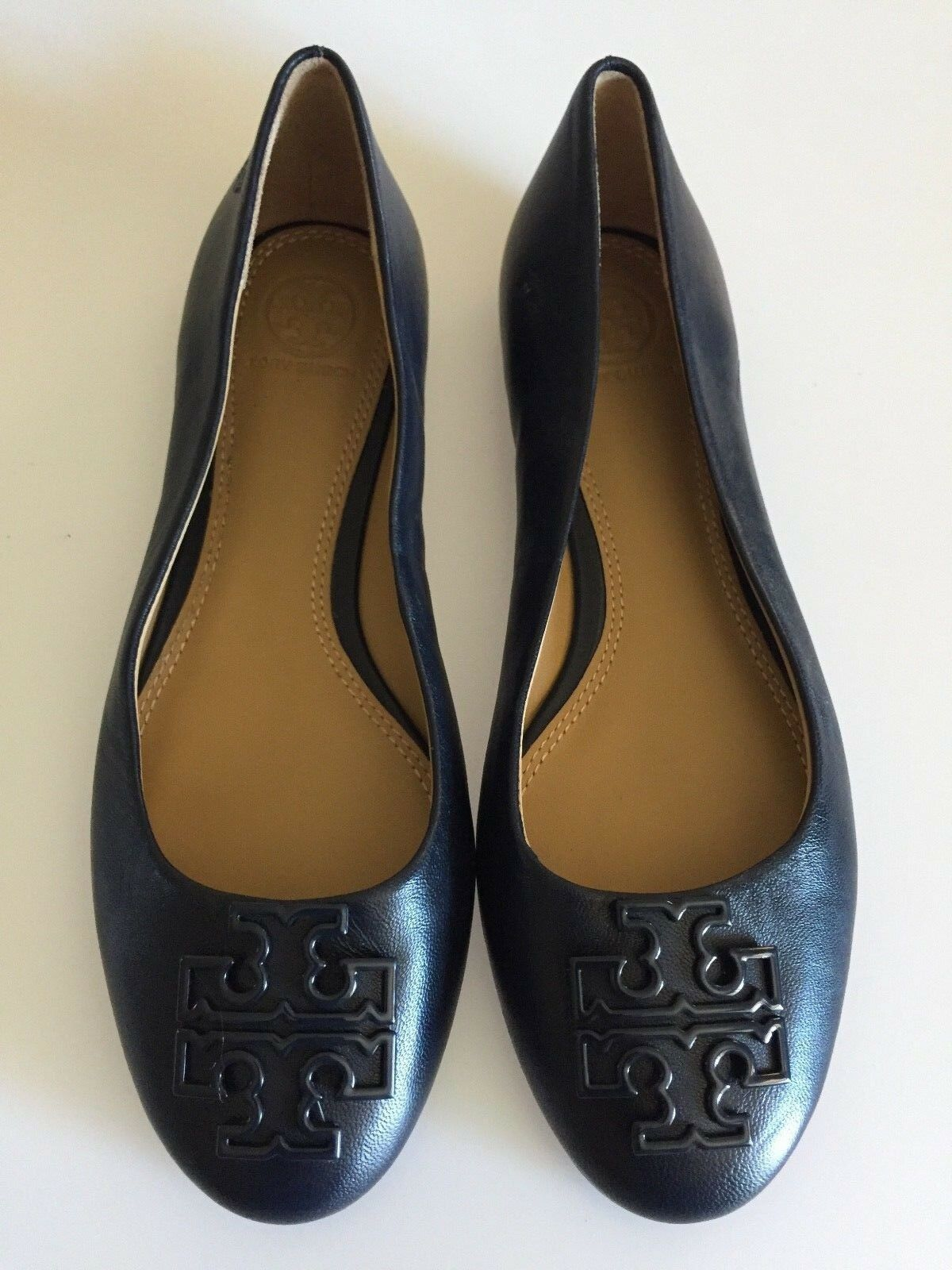TORY BURCH Powder Coated Melinda Navy Leather Ballet Flats Shoes Size 6 M