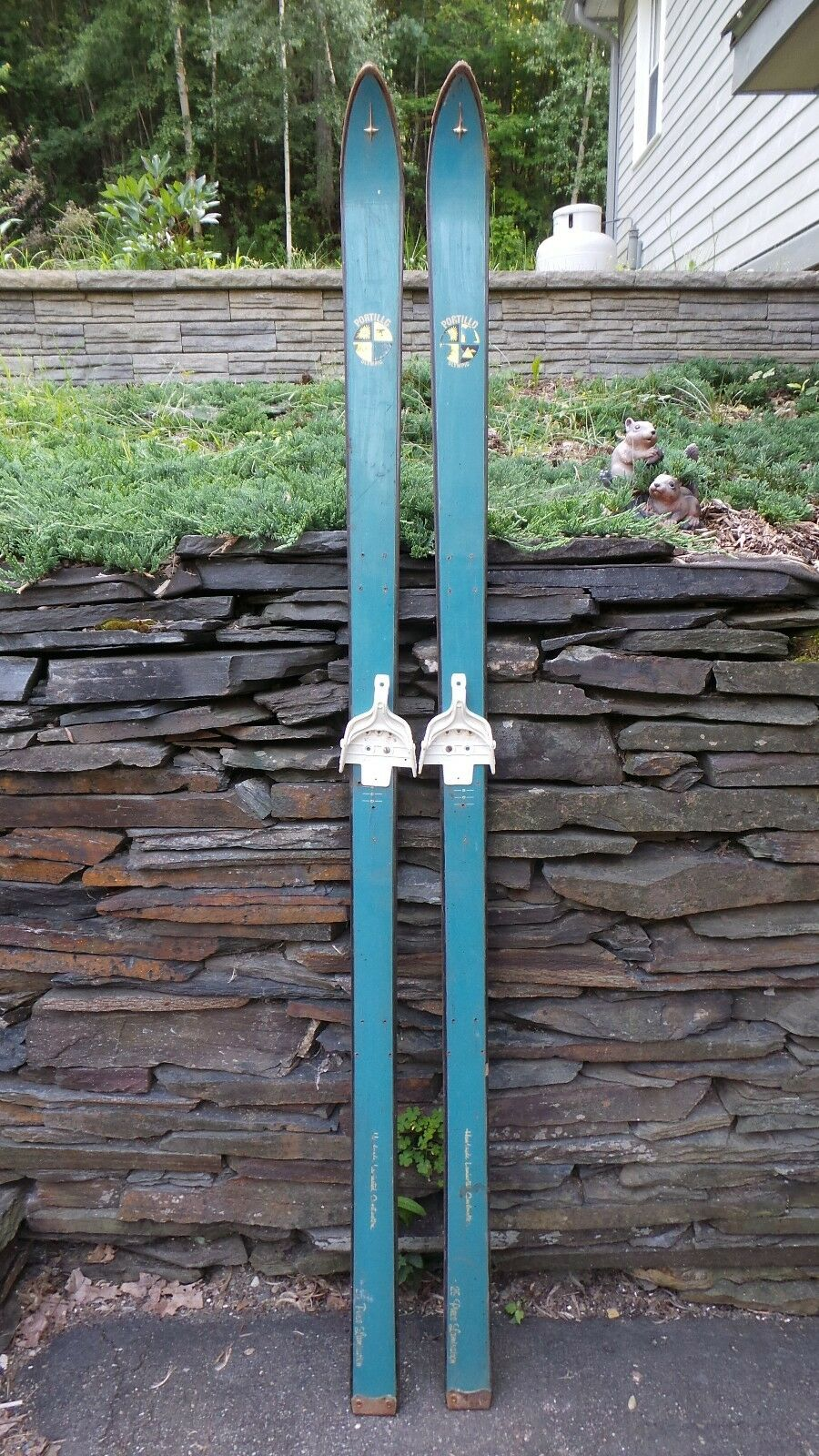 Vintage Wooden Skis 74  Long with Original GREEN  Finish and Bindings
