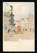 Belgium ANVERS La Grande Place H Cassiers artist drawn c1902 u/b PPC