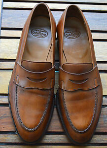 30cf644a6e7 Details about Crockett   Jones Rosebery Tobacco Brown Antique Calf  Handgrade Penny Loafers