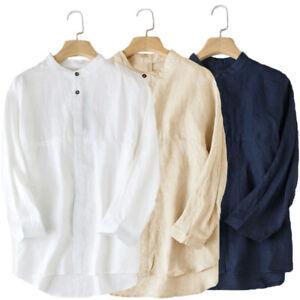 Men-Vintage-Shirt-Stand-Collar-Long-Sleeve-Cotton-Linen-Loose-Casual-Shirts-Tops