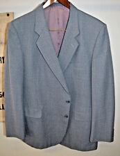 Vintage Grey Gray Pin Stripe Wool Polyester Two Button Blazer Jacket Size 48R