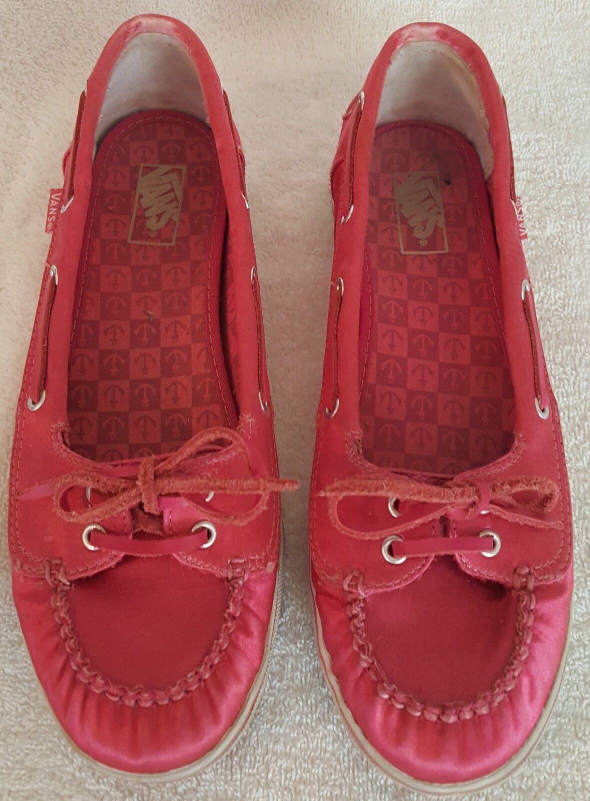 Vans Satin Boat Shoe, Hot Pink Satin Vans Slip-on, Size 5 1/2 b7d78a