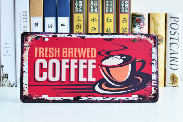 """Fresh Coffee Car Plate Vintage Metal Sign Tin Poster Cafe Art Wall Plaque 12