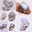 Natural Rainbow Moonstone Jewelry CR16 925 Sterling Silver Ring SIZE UK R 1//4