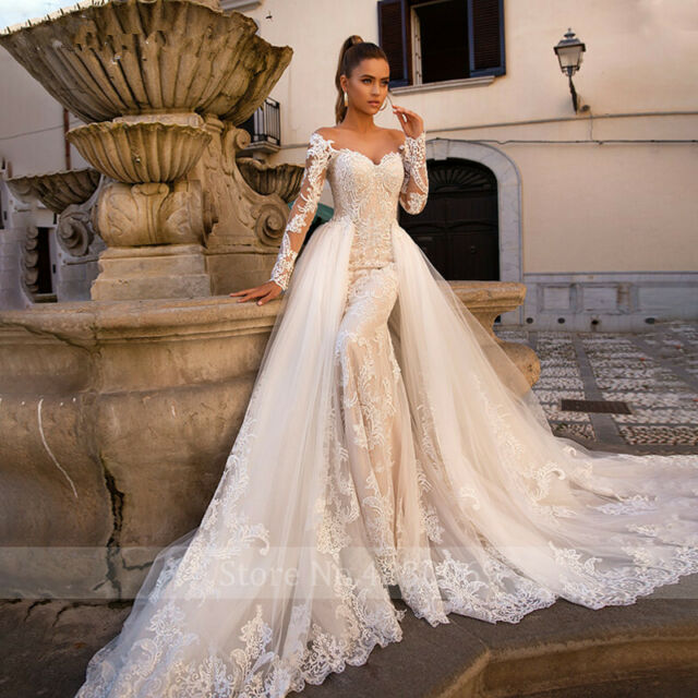 Gorgeous Mermaid Wedding Dresses Long Sleeve Detachable Train Bridal Ball  Gowns