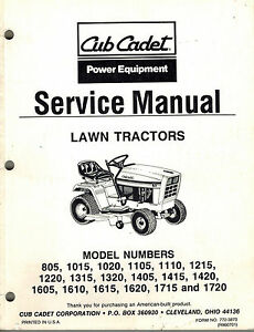 cub cadet 805 1720 lawn tractor service manual new 772 3870 see rh ebay com cub cadet 1720 hydro manual cub cadet 1320 manual