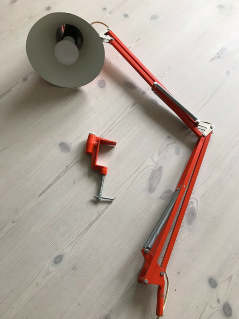 Arkitektlampe, Orange arkitektlampe. Retro.