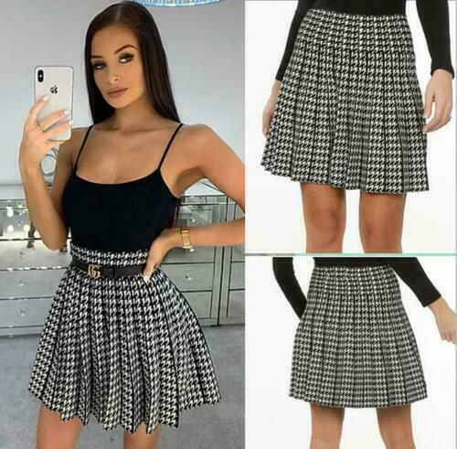 Womens Dog Tooth Pleated Skirt Ladies Elastic Waist Flared Mini Skater Skirt