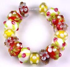 Yellow Pink White Flower Lampwork Glass Beads Handmade Rondelle Jewelry Craft