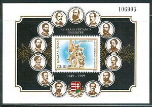 HUNGARY-1989-Souv-Sheet-Martyrs-of-Arad-MNH-Mi-Bl-206