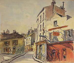 PARIS RUE. AQUARELLE SUR PAPIER. A. GUERIN. FRANCE. CIRCA 1940.
