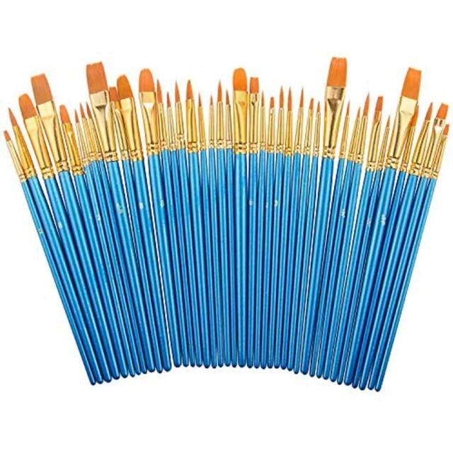 20 pcs Nylon Hair Brushes for Acrylic Oil Watercolor PaW7D4 Paint Brush Set by