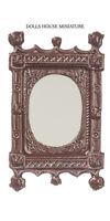 Ornate Mirror Frame Finished in Brown Paint, Dolls House Miniature 1/12 Scale