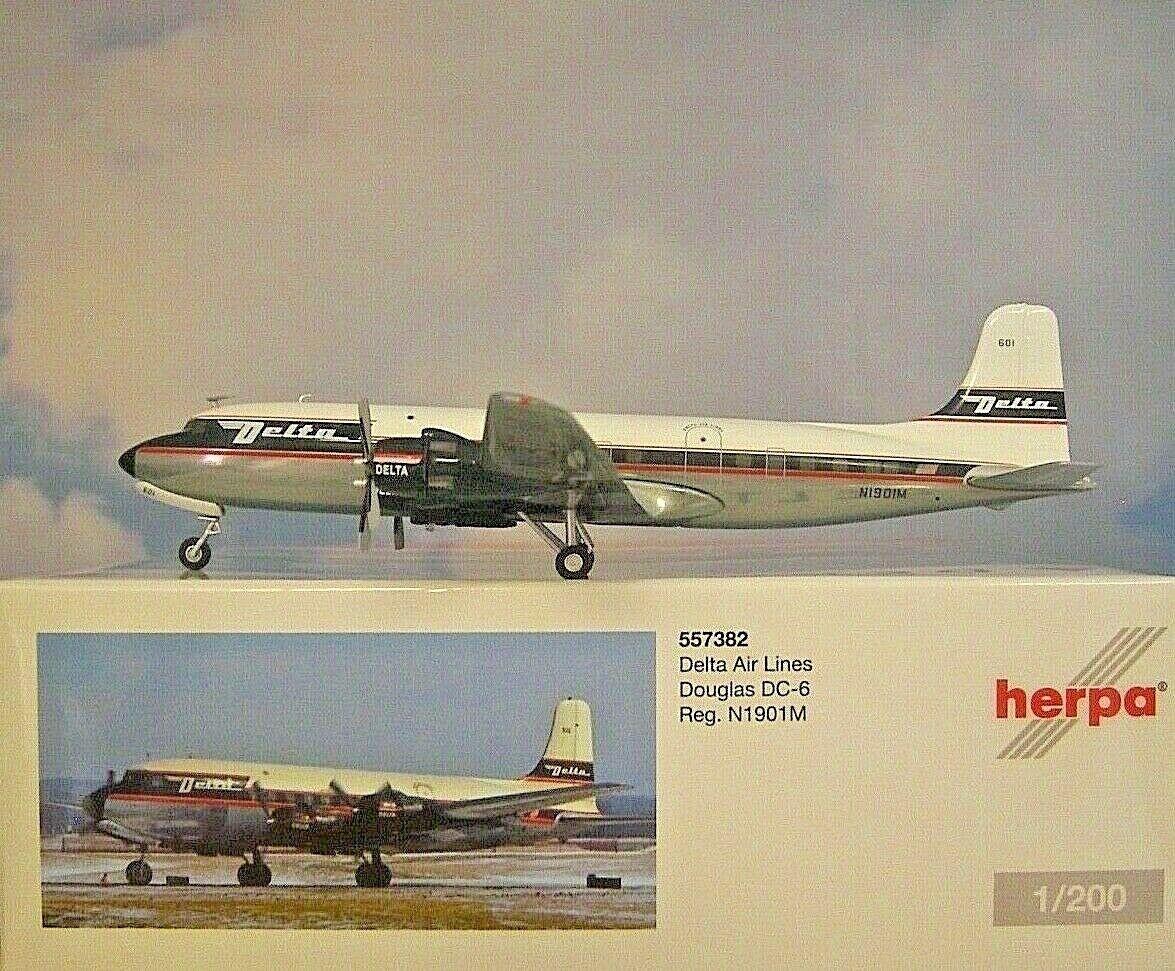 Spedizione gratuita al 100% Herpa Wings 1 200 Douglas Douglas Douglas dc-6 Delta Air Lines n1901m 557382  presa di fabbrica
