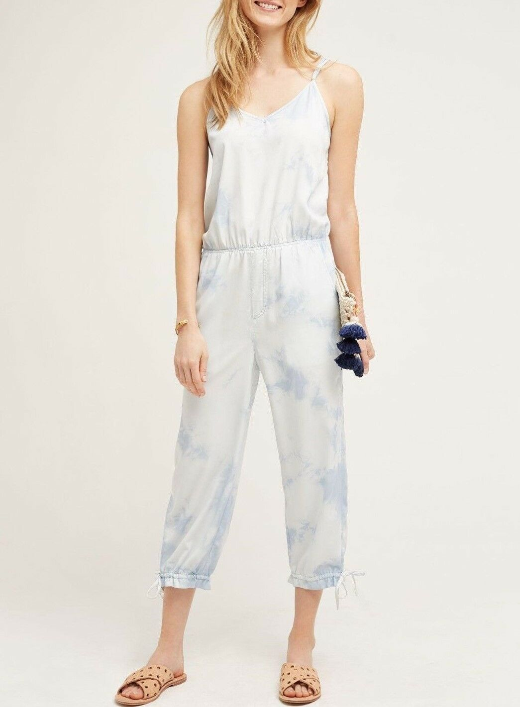 ANTHROPOLOGIE Marrakech Ebre Dyed Cropped Jumpsuit NwT Medium