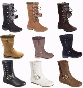 New-Womens-Military-Combat-Fashion-Boots-Mid-knee-Low-Flat-Heel-boot