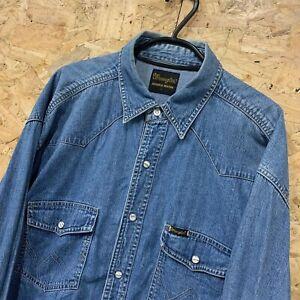 Herren-Wrangler-Vintage-Langarm-Denim-Shirt-Authentic-Western-Blue-grosse-L