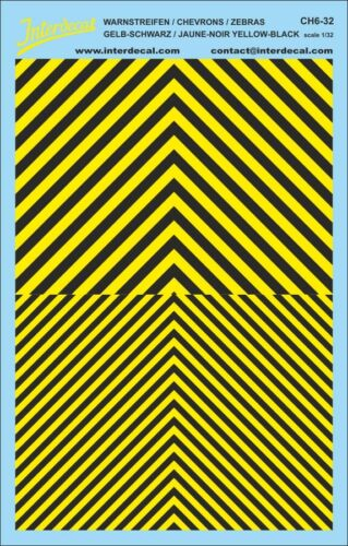 zebras Decal Naßschiebebild 185 x 118 mm Warnstreifen chevrons 1//32