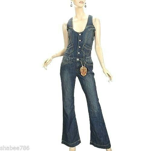 NEW Vanilla Star Womens Denim Jumpsuit 70's 80's Vintage Over all Jeans S Small