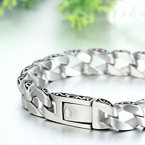 MENDINO-Men-039-s-Stainless-Steel-Bracelet-Cuban-Carved-Curb-Link-Chain-Silver-Tone