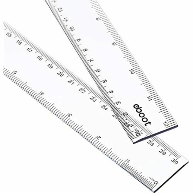 2 Pieces Black eBoot Plastic Ruler Straight Ruler Plastic Measuring Tool 12 Inches and 6 Inches