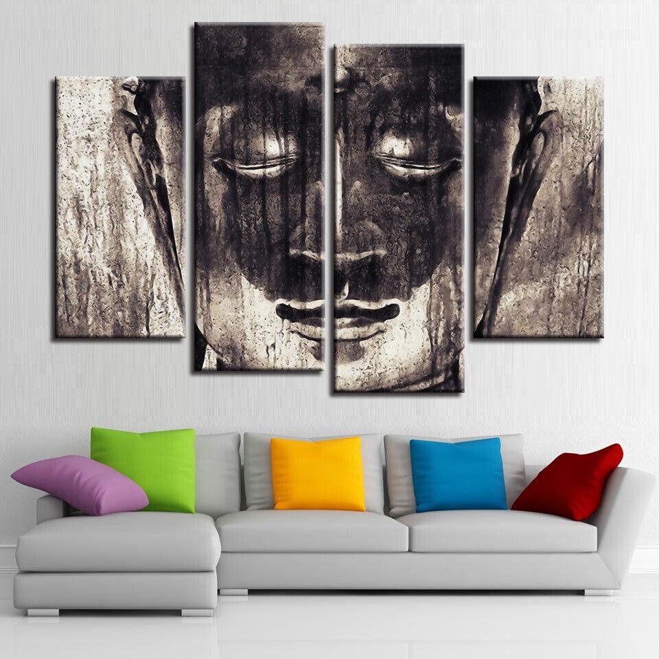 Abstract Buddha Face Painting 4 Panel Canvas Print Wall Art