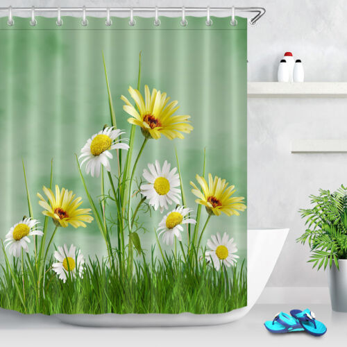 "Polyester Waterproof Fabric Blooming Daisy Grassland 60x72/"" Shower Curtain Set"