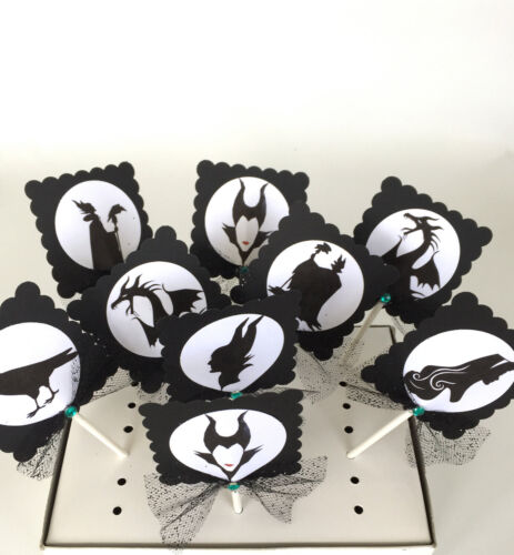 cake decor// party supplies  SET OF 10 Maleficent Cupcake Toppers