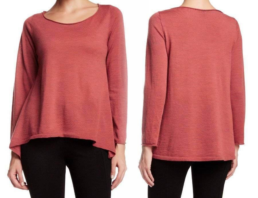 Eileen Fisher Ballet Neck Merino Wool Sweater Large 14 16 Chutney High-low