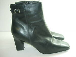 WOMENS-BLACK-LEATHER-CALF-ANKLE-HIGH-BOOTS-HEELS-CAREER-WINTER-SHOES-SIZE-7-5-M