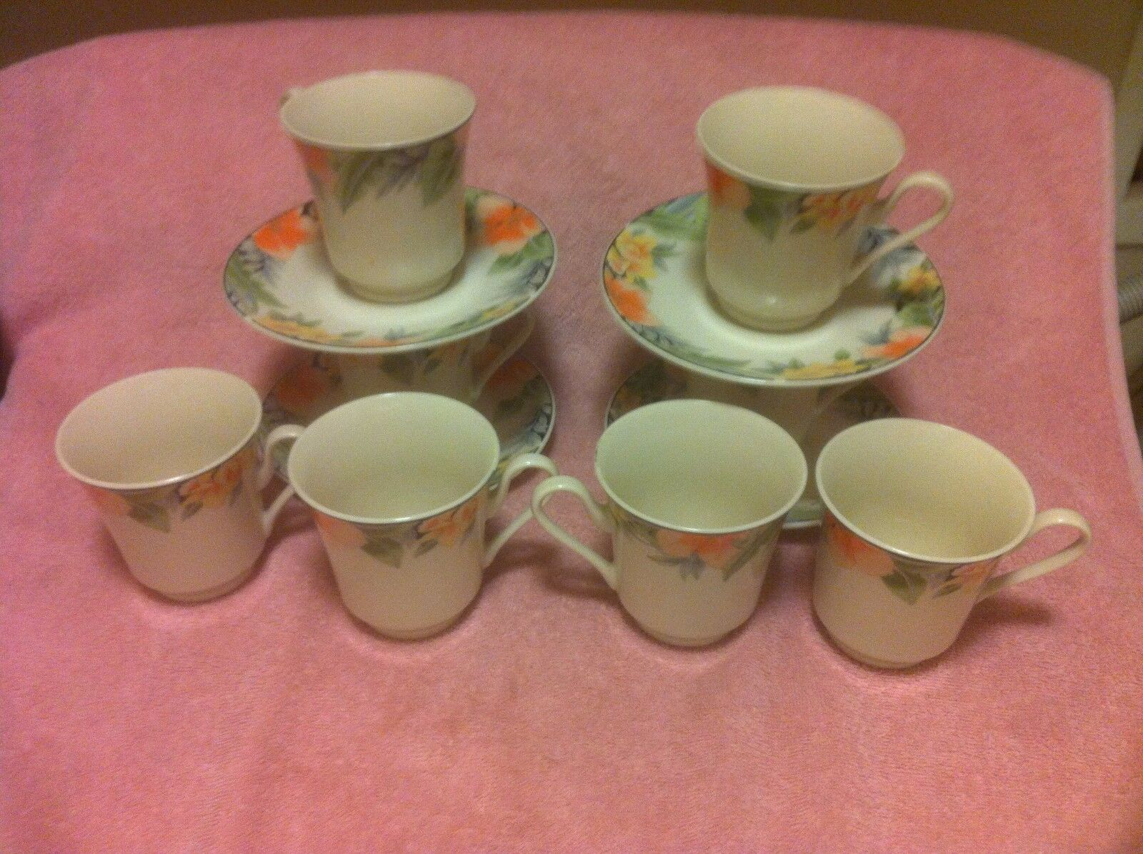 (8)  GIBSON  TROPICANA CUPS & 4) SAUCERS--orange & YELLOW FLORAL--FREE SHIP-VGC