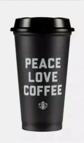 Dispatched 1st class in UK Starbucks Black Reusable Cup Peace Love Coffee NEW
