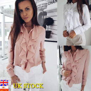 Womens Long Sleeve Blouse Ruffle Front Shirt Ladies Office Tops