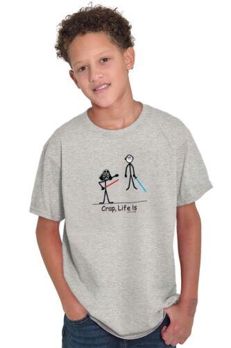 Life is Crap Funny Darth Vader Shirt Star Gift War Idea Cute Youth Tee Shirt T