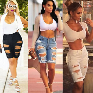 1ced88808 US Women Stylish Ripped Jeans Shorts Pants High Waist Casual Knee ...