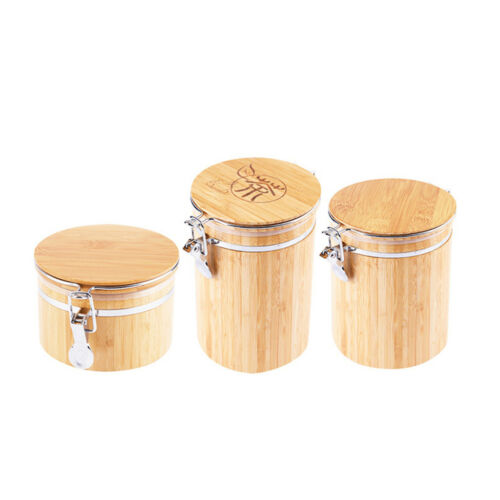 Container// Pot Airtight Bamboo Clip Top Spice Coffee Storage Jar Tub