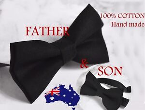 ba391eb391f5 Father Son Match 100% Cotton Handmade Matte Black Bow Tie Bowtie ...