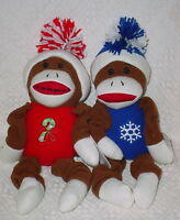 Holiday Time Sock Monkey Plush Squeak Toys Blue/red 13 Inch