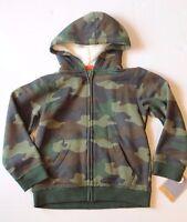Sonoma Boy Size 4 Green Camo Hoodie Jacket With Fleece Lining Zippered Coat