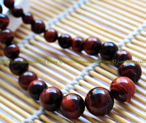 Natural 6-12mm Red African Tiger/'s Eye Gemstone Round Bead Neckalce 18/'/' AAA