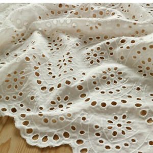 White-Hollow-Lace-Cotton-Fabric-Embroidery-Floral-Wedding-Dress-Crafts-By-Metre