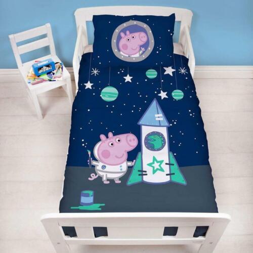 Peppa Pig George Boom Space Rocket Junior Toddler Cot Bed Duvet Cover Set New